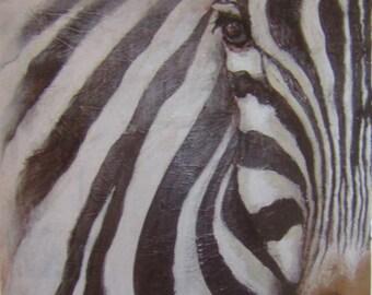 African Wildlife Safari Art Set of Three A3 Wildlife Art Prints Zebra  African Elephant Loggerhead Turtle Mixed Media. Wall Art
