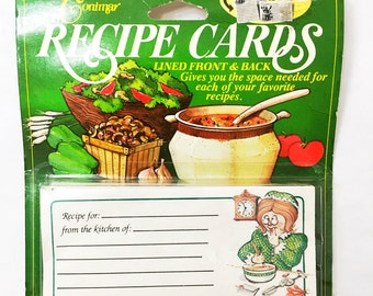 Vintage Recipe Cards. New in the Package.  Conimar Cards.   Recipe File Cards.  Lined Recipe Cards.