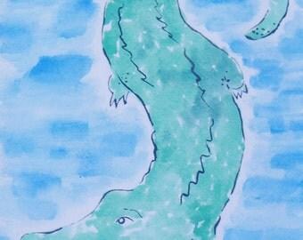 Tropical Crocodile Watercolor
