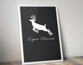 Harry Potter Inspired Poster Print - Expecto Patronum | Harry Potter Spell | A2 Size-Resizable | Digital Download | Movie Art | Minimalist