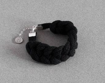 Black - Textile knitted bracelet - braided bracelet - cotton - sterling silver