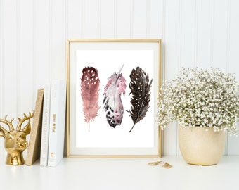 Feather Printable, Boho Nursery Wall Art, Tribal Nursery Decor, Printable Art, Tribal Nursery Printables, Digital Download Art, Digital Art