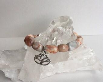 Coral Lotus Flower Healing Beaded Bracelet