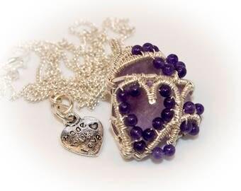 Purple Fairytale Necklace,  Amethyst in Silver, Crystal Pendant