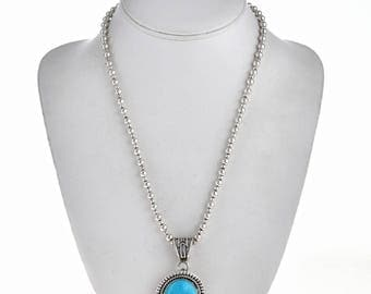 Blue Turquoise Pendant Navajo Silver Display with Necklace