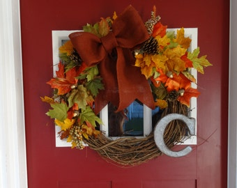 Leaves and Burlap Wreath