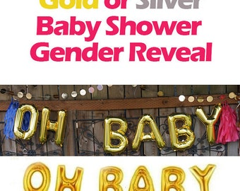 """OH BABY Balloons 16"""" Gold Letter Balloons, OH Baby balloons - Baby Shower Balloons - 16inch Balloons, Oh Baby Banner, Large Letters, Silver"""