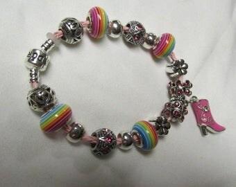 Pandora Pink Leather European Charm Bracelet #726