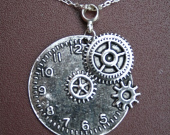 """Silver plated clock necklace with 10.5"""" chain."""