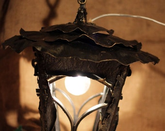 Hand forged Lantern (can use with candle or lamp)