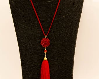 Long necklace, long tassel red, red rose, red and gold murano glass