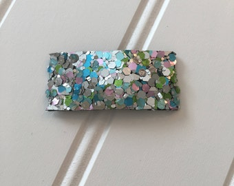 Multi colored chunky glitter snapclip/ chunky glitter snapclip/ multi colored snapclip