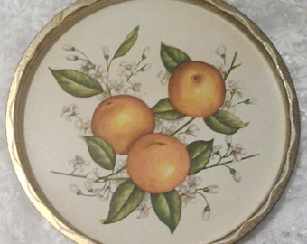 Circular Tin Tray Vintage with Oranges and Orange Blossoms