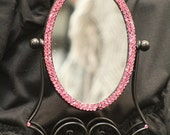 "Embellished Makeup Mirror | 9"" x 6"" Pink Swarovski Crystals Mirror"
