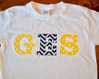 School Initials Embroidery Applique Shirt