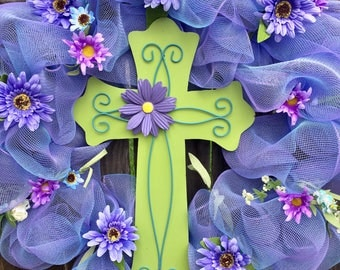 Spring Wreath, Easter Wreath, Cross Wreath, Easter Decor, Large Deco Mesh Wreath