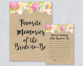 Favorite memories of the bride to be / Bridal shower games / Watercolor floral / Burlap / Tropical summer / DIY Printable / INSTANT DOWNLOAD