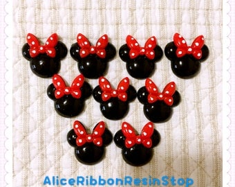 5pcs Mickey Minnie mouse flat back resin Minnie cabochon Minnie mouse embellishment Minnie hair bow center kawaii cute resin cabochon