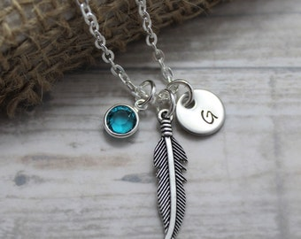 Feather Necklace - Metal Feather Necklace - Tribal - Silver Feather Pendant - Custom Birthstone