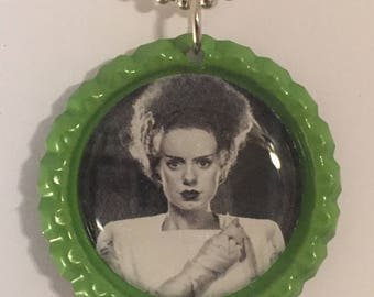 Bride of Frankenstein Bottle Cap Pendant