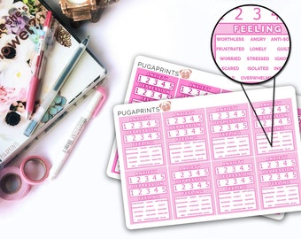 Anxiety Trackers (Multi Colour)    16 Erin Condren Planner Stickers