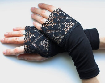 Black arm warmers decorated with lace steampunk goth fingerless gloves- WRW 2L