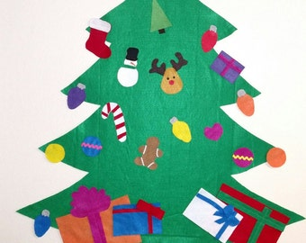 Felt Christmas Tree -  Sewn and Hand Cut NO GLUE!!! Perfect for Toddlers and Preschoolers