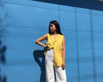 Yellow Silk Sleeveless Button Up
