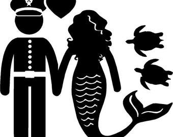 Airforce Mermaid Couple Love Vinyl Decal, sticker, turtles, family decal, stick family, USAF, Airman
