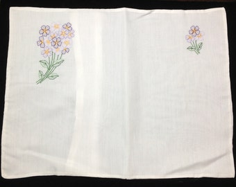 New Old Stock, Vintage, Boudoir Pillow Cases, Floral Hand Embroidered with Shadow Stitching , made in Madeira