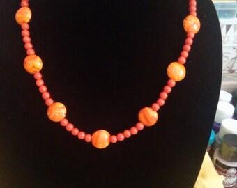 "21"" Bright Orange Necklace"
