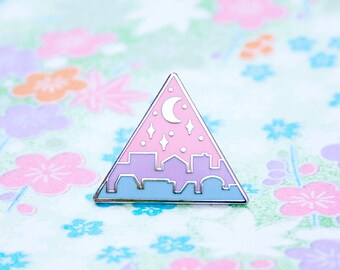Cute Enamel Pins - Nightfall Cityscape Lapel Pin - Silver Crescent Moon and Stars in a Pastel Pink, Purple & Blue Sky above a Magical City
