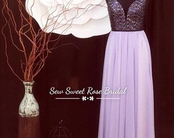 Lavender Sequin Top Elegant Dress