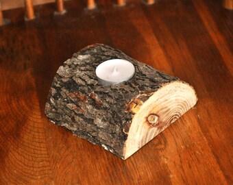 Live Edge, White Elm, Wood Candle Holder, Tea Light Holder,  Half Round Single Tea Light Holder, Live Edge Slab, Rustic Candle Holder.