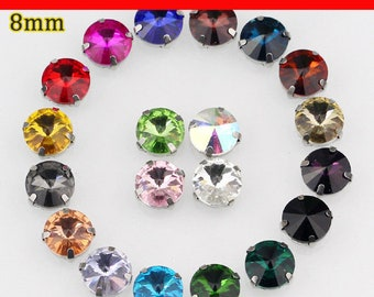 8mm 20pcs/pack, round shape crystal glass sew on rhinestones, DIY