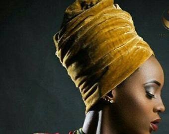 Metallic Gold Velvet Turban Head wraps, Extra long, One Size Fits All
