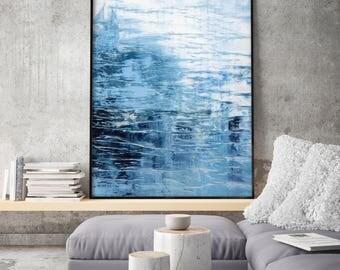 Acrylic Abstract Minimalist Painting, Print Giclee of Original Wall Art, Dark Blue Seascape, Navy Indigo Wall Decor by Eveline Patrzalek
