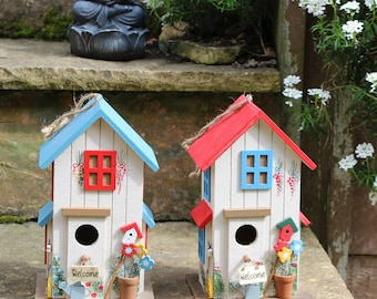 Coloful wooden bird house decorative functional bird nesting box