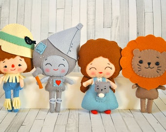 Wizard of Oz  dolls Dorothy Toto Tin man Cowardly Lion Scarecrow Plush toys Fairytale nursery decor Baby shower gift 100% wool felt