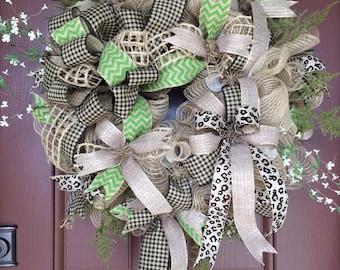 Jute deco mesh wreath, burlap wreath, spring wreath, summer wreath, rustic mesh wreath, rustic jute wreath, cheetah wreath, natural wreath