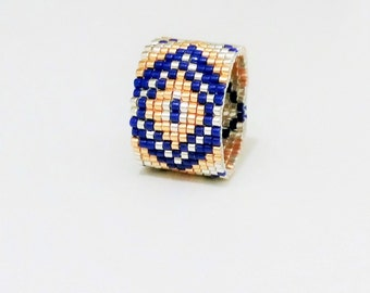 Ring weaving hand beads gold silver and cobalt blue