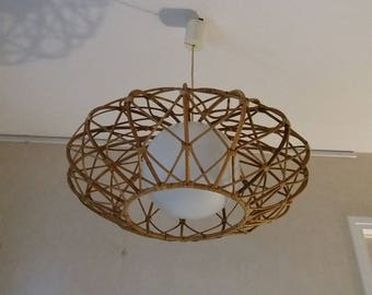 vintage rattan chandelier