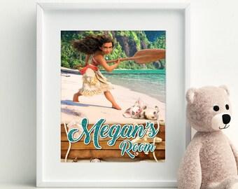 Princess Moana Printable, Princess Moana Wall Art, Moana Digital Art, Moana Wall Decor, Customizable Nursery Decor, Moana Custom Wall Art,