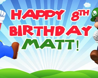 Super Mario Bros Birthday Banner