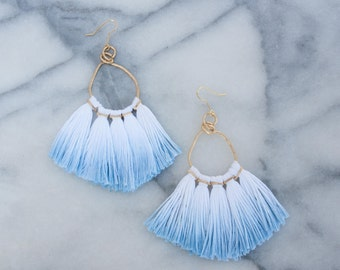Hammered Brass Tassel Earring, Dip Dyed Blue
