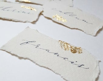 Hand Written Gold Leaf Calligraphy Name Place Cards