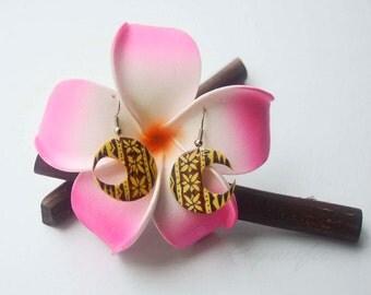 Tribal design coconut earrings