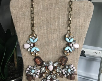 Burgandy Blue and Pink Statement Bib Necklace