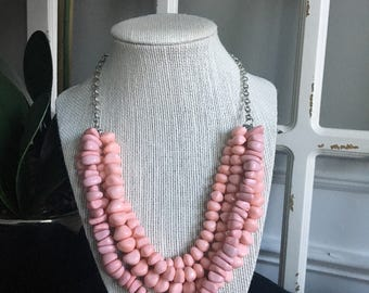 Pink Layered Bead Necklace