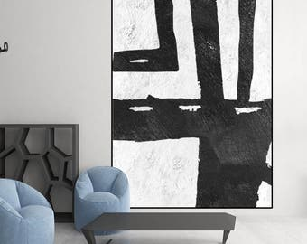 large original painting, black and white painting on canvas, original abstract art, large canvas art,